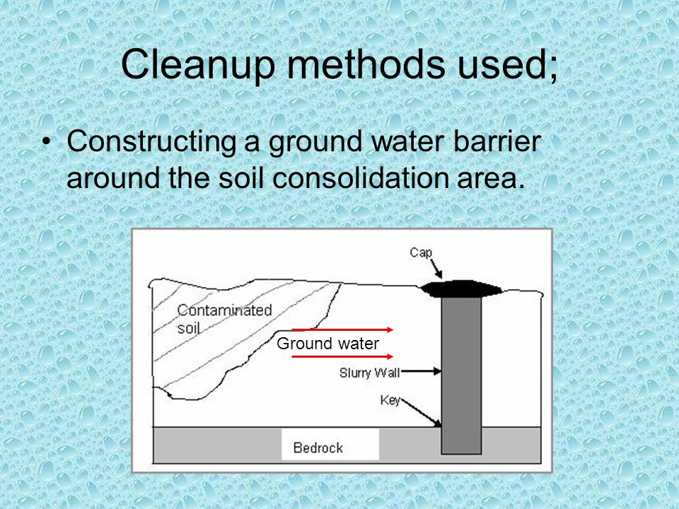 Cleanup methods used; Constructing a ground water barrier around the soil consolidation area.