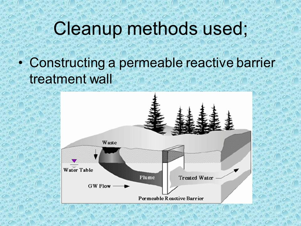 Cleanup methods used; Constructing a permeable reactive barrier treatment wall
