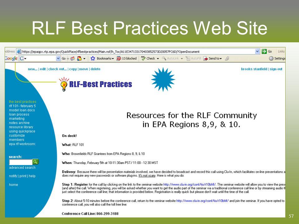 57 RLF Best Practices Web Site