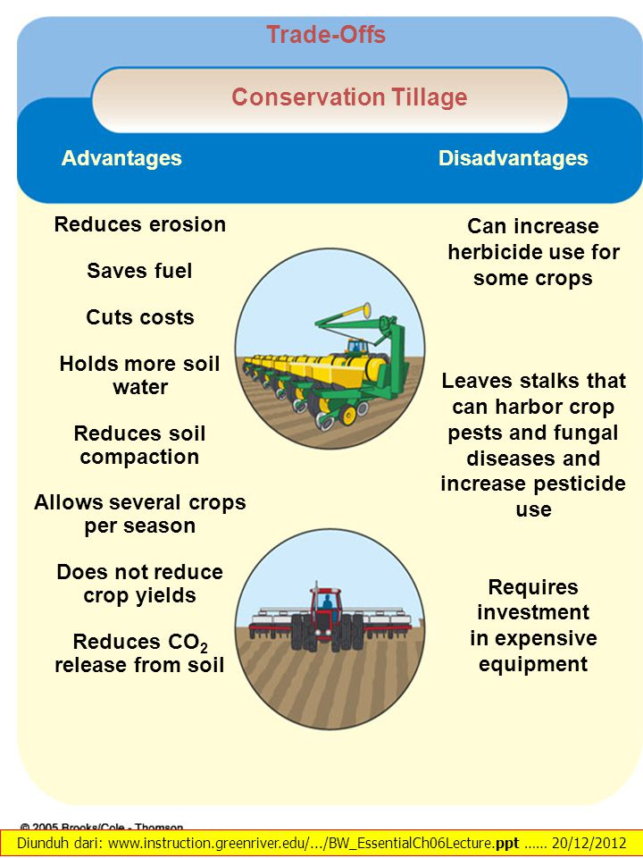 Reduces erosion Saves fuel Cuts costs Holds more soil water Reduces soil compaction Allows several crops per season Does not reduce crop yields Reduce