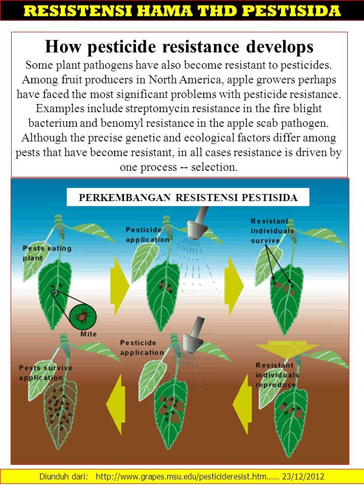 Diunduh dari: http://www.grapes.msu.edu/pesticideresist.htm…… 23/12/2012 RESISTENSI HAMA THD PESTISIDA How pesticide resistance develops Some plant pa