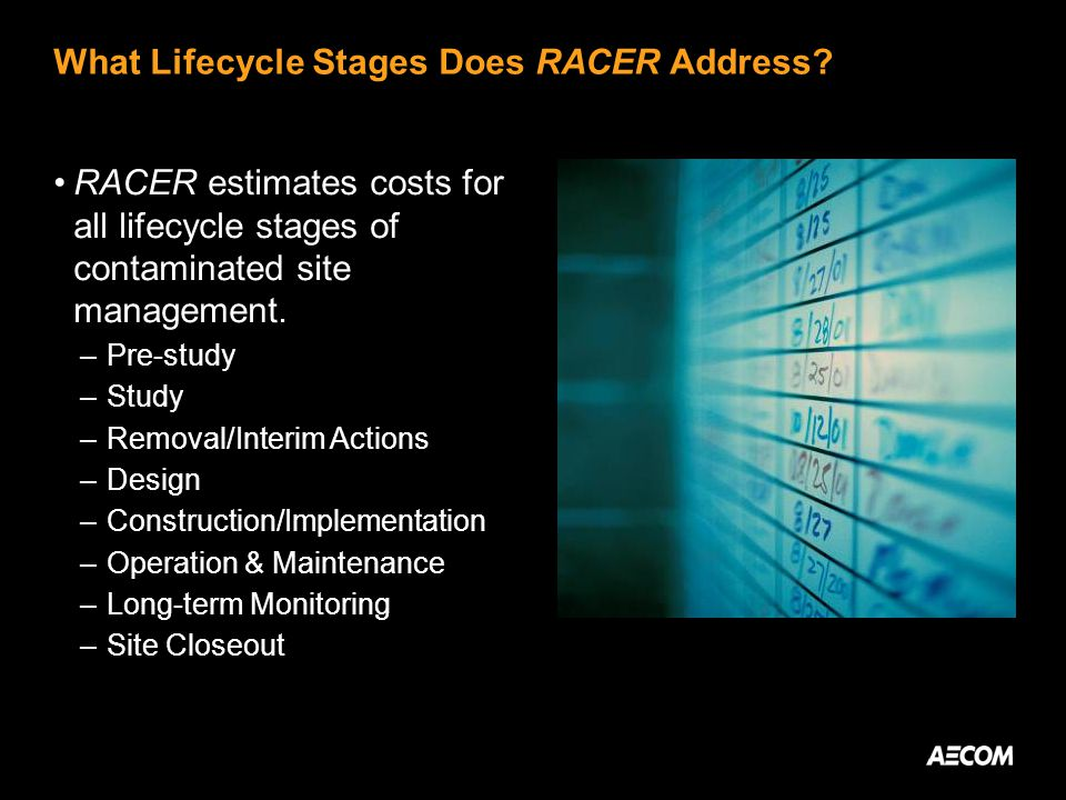 What Lifecycle Stages Does RACER Address.
