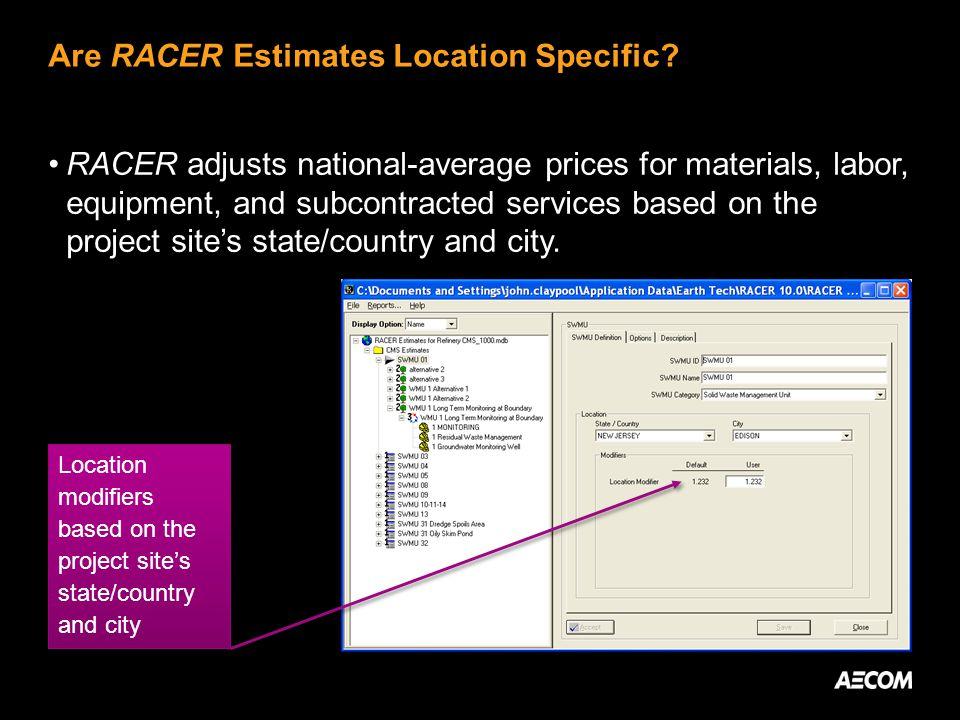Are RACER Estimates Location Specific.