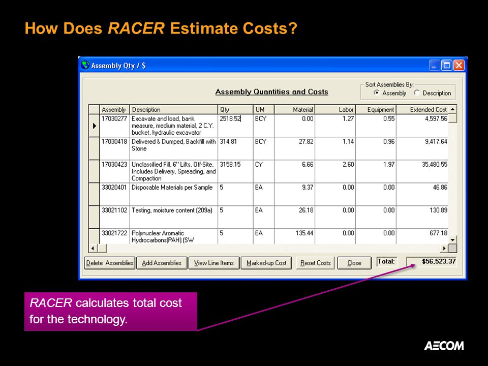 How Does RACER Estimate Costs? RACER calculates total cost for the technology.