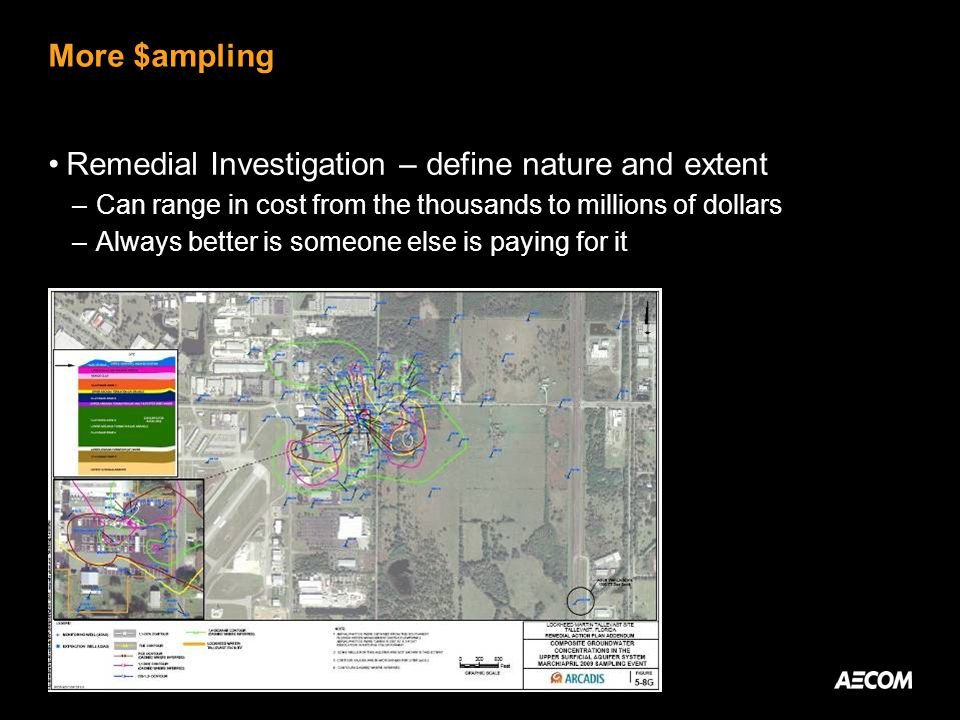 More $ampling Remedial Investigation – define nature and extent –Can range in cost from the thousands to millions of dollars –Always better is someone else is paying for it