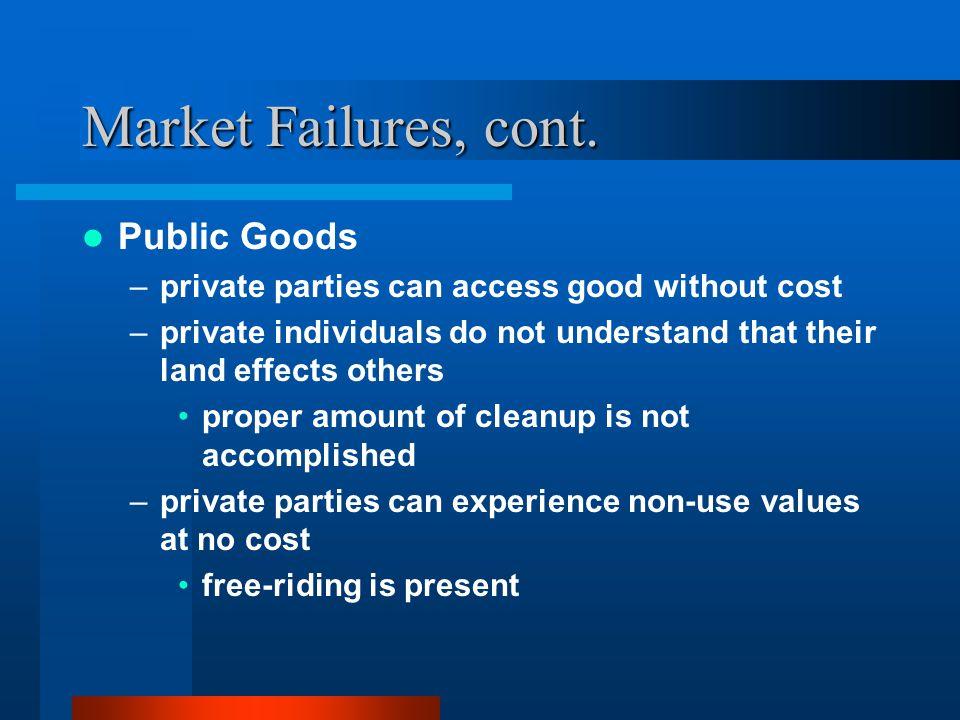 Market Failures, cont.