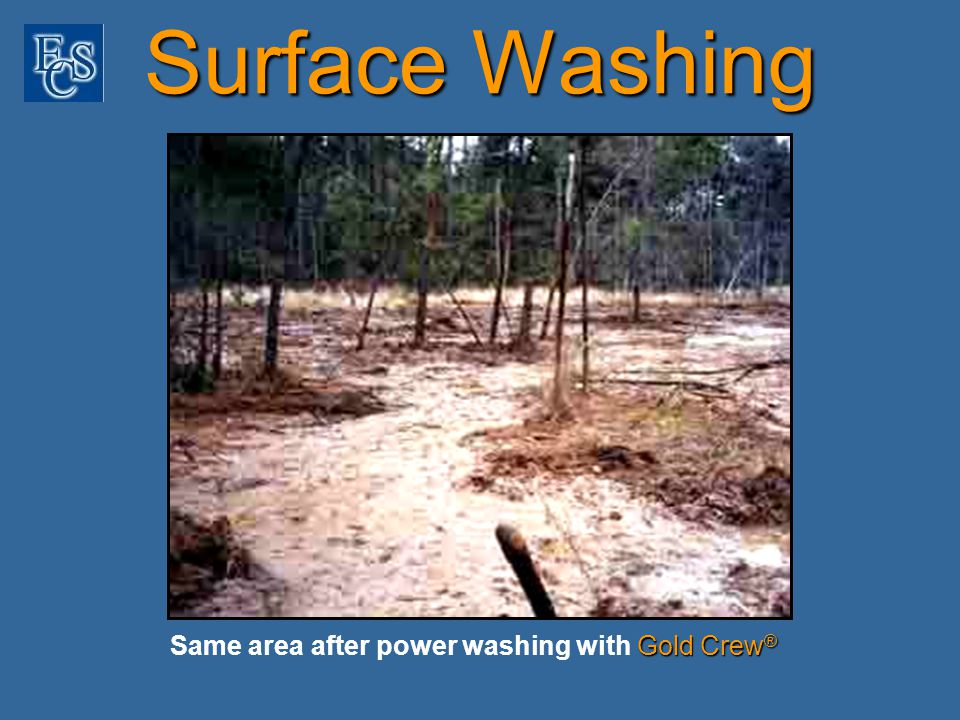 Gold Crew ® Same area after power washing with Gold Crew ® Surface Washing