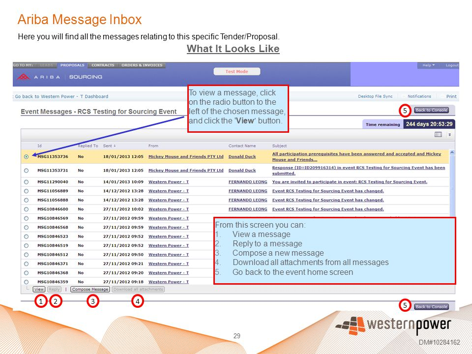 29 DM#10284162 Here you will find all the messages relating to this specific Tender/Proposal. To view a message, click on the radio button to the left