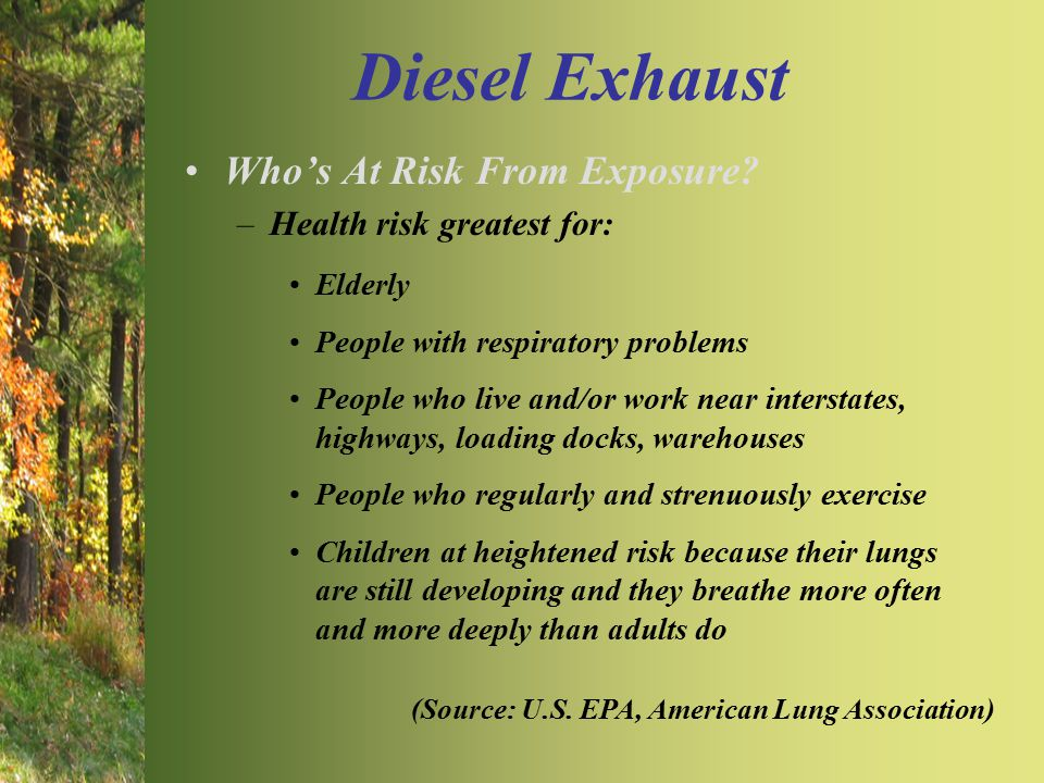 Diesel Exhaust Who's At Risk From Exposure? –Health risk greatest for: Elderly People with respiratory problems People who live and/or work near inter
