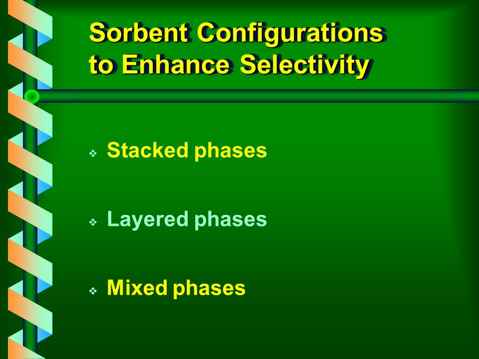Sorbent Configurations to Enhance Selectivity v Stacked phases v Layered phases v Mixed phases