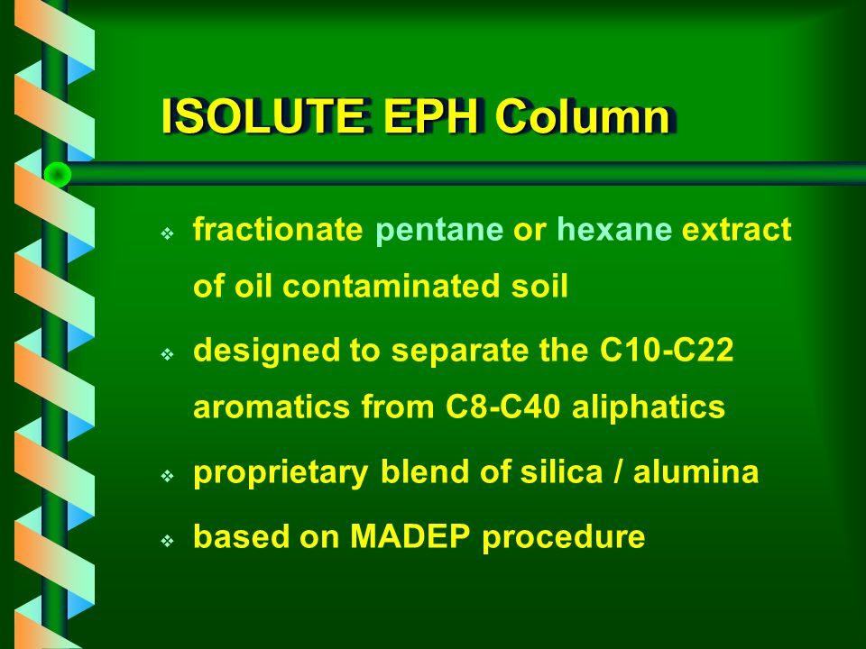 PAH Method (IST AN 1070A) ActionMethod Column conditioning / equilibration Condition columns with hexane (8ml) at 2ml / min Sample loadingLoad 0.5ml of sample in apolar solvent (hexane, i-octane) Interference elutionRinse column with pentane (3ml) at 0.5ml / min PAH elutionElute PAHs with 2-propanol (isopropanol) / hexane (3.4 ml in 100ml, v/v), 6ml at 1ml / min SPE clean-up using ISOLUTE PAH HC, 1g / 3ml
