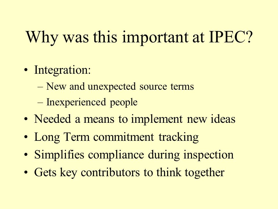 Why was this important at IPEC.