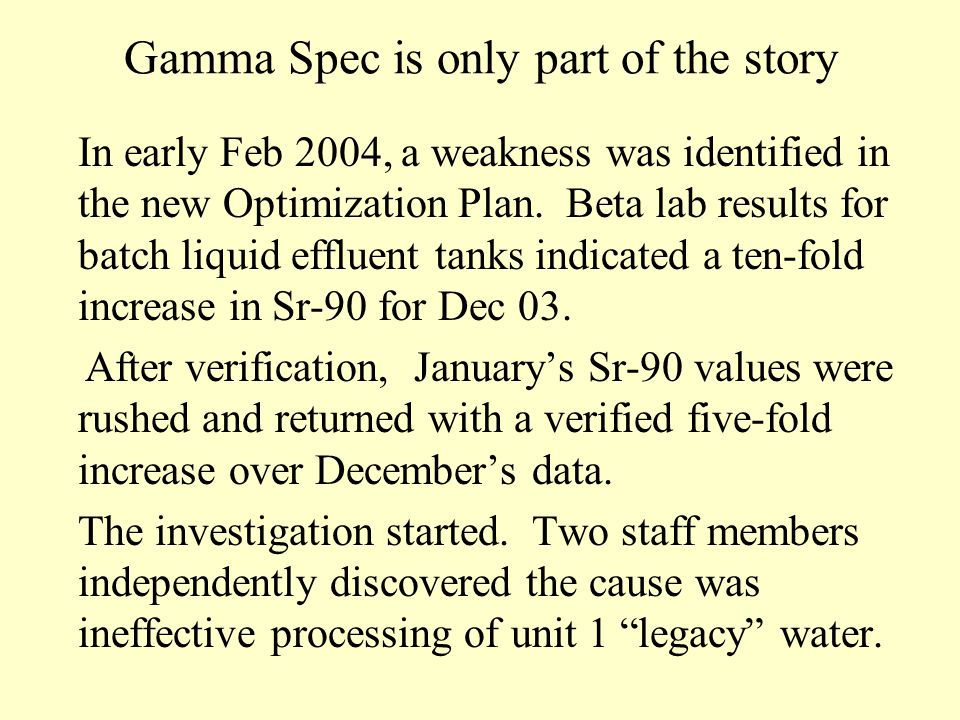 Gamma Spec is only part of the story In early Feb 2004, a weakness was identified in the new Optimization Plan.