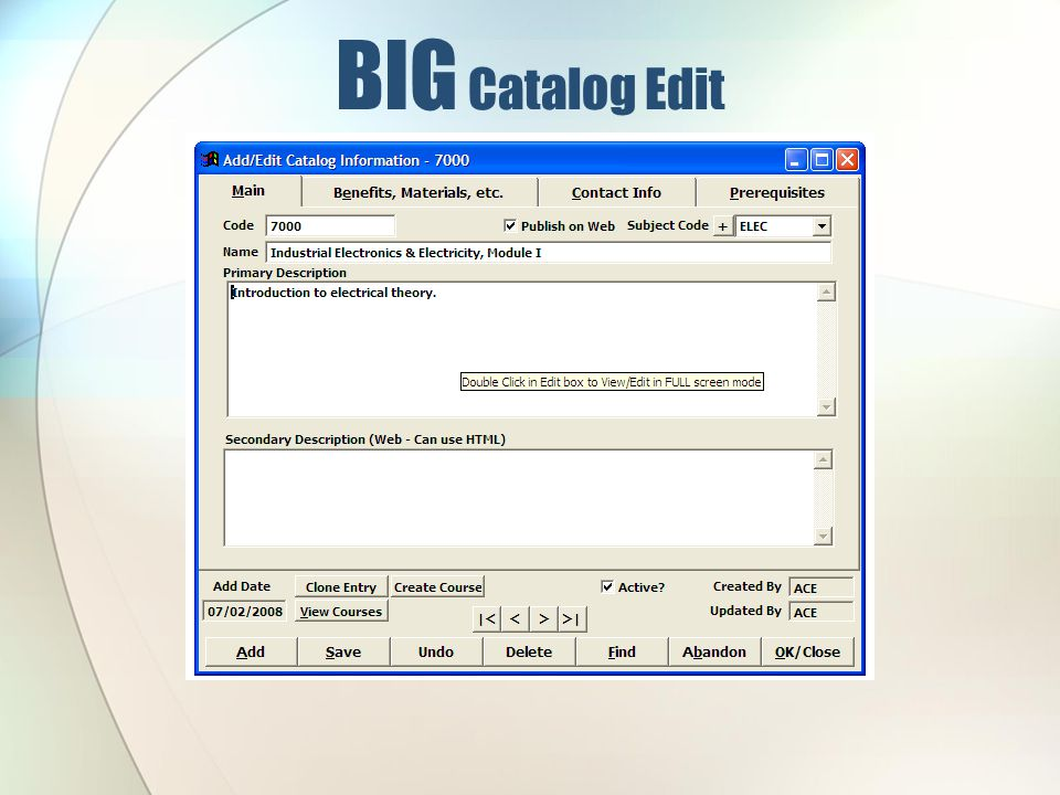 BIG Catalog Edit