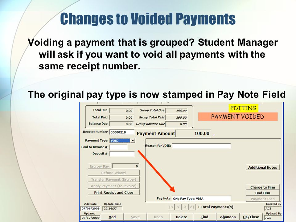 Changes to Voided Payments Voiding a payment that is grouped.