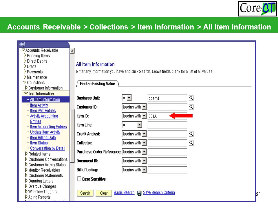 31 Accounts Receivable > Collections > Item Information > All Item Information