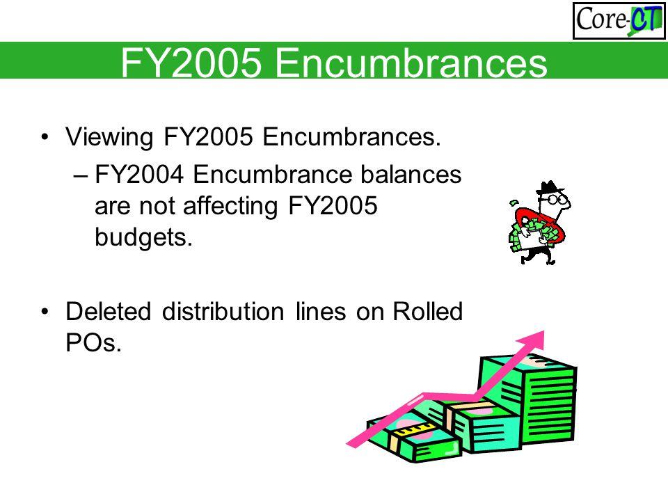 FY2005 Encumbrances Viewing FY2005 Encumbrances.