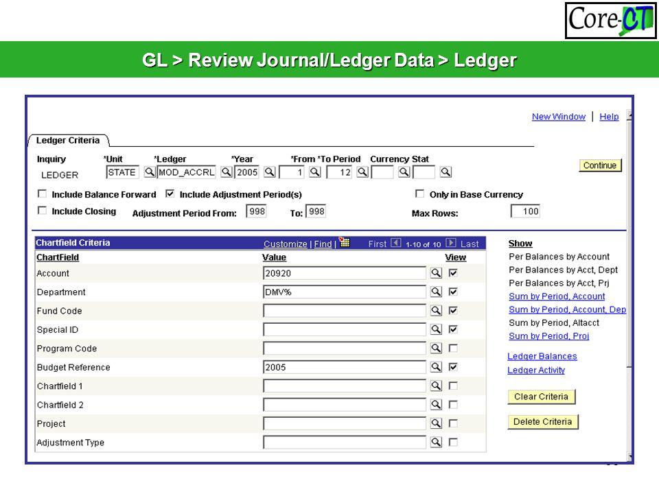 60 GL > Review Journal/Ledger Data > Ledger