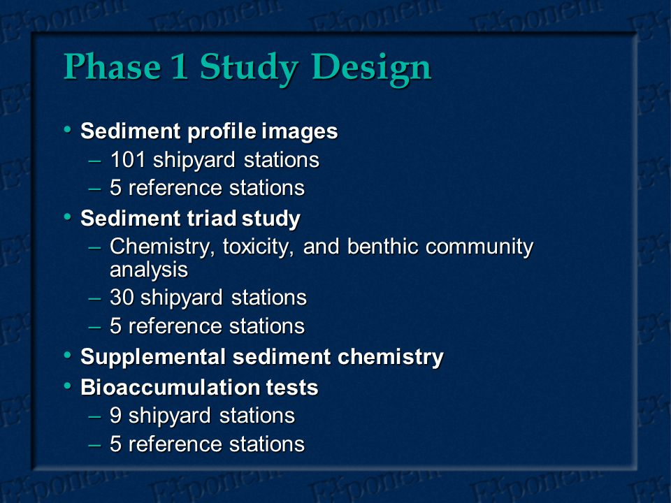Phase 1 Study Design Sediment profile images Sediment profile images –101 shipyard stations –5 reference stations Sediment triad study Sediment triad study –Chemistry, toxicity, and benthic community analysis –30 shipyard stations –5 reference stations Supplemental sediment chemistry Supplemental sediment chemistry Bioaccumulation tests Bioaccumulation tests –9 shipyard stations –5 reference stations