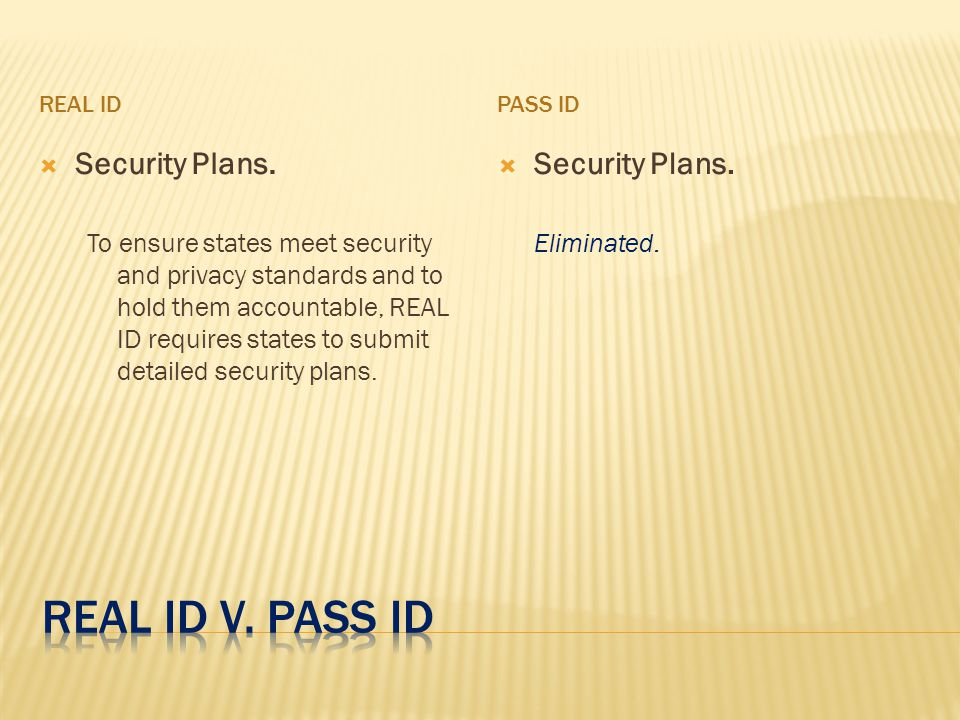 REAL IDPASS ID  Security Plans.