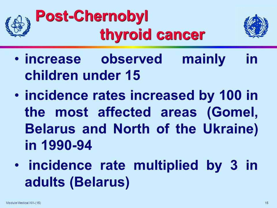 Module Medical XIX-(15) 15 Post-Chernobyl thyroid cancer increase observed mainly in children under 15 incidence rates increased by 100 in the most af