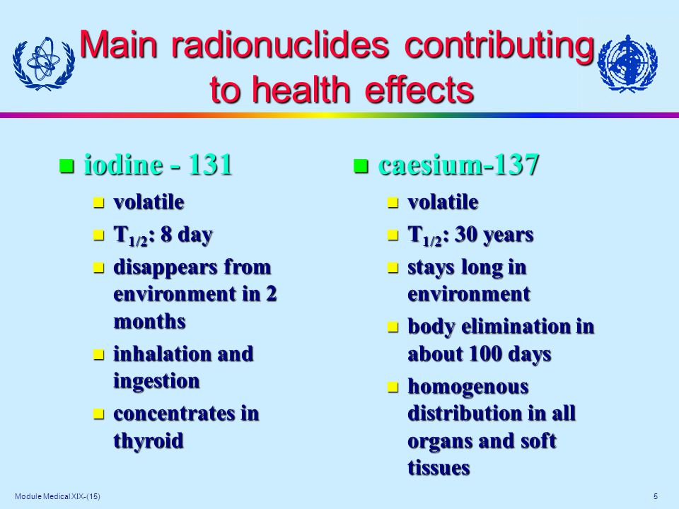 Module Medical XIX-(15) 6 Biological effects of exposure to ionizing radiation Deterministic effects n occur when the dose is above given threshold (characteristic for the given effect) n severity increases with the dose n many cells die or have function altered examples: erythema, fibrosis, marrow depletion, cataract examples: erythema, fibrosis, marrow depletion, cataract Stochastic (probabilistic) Stochastic (probabilistic) n have no known threshold n probability of occurrence increases with dose n may result from alteration in only one or few cells examples: carcinogenic - various neoplasms examples: carcinogenic - various neoplasms genetic - various hereditary disorders genetic - various hereditary disorders