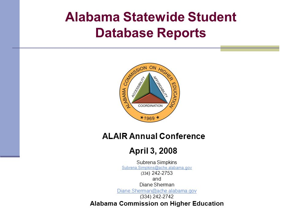Subrena Simpkins Subrena.Simpkins@ache.alabama.gov (334 ) 242-2753 and Diane Sherman Diane.Sherman@ache.alabama.gov (334) 242-2742 Alabama Commission on Higher Education Alabama Statewide Student Database Reports ALAIR Annual Conference April 3, 2008