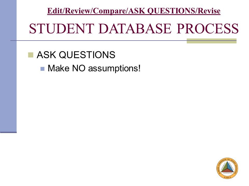 Student Database Process ASK QUESTIONS Make NO assumptions.