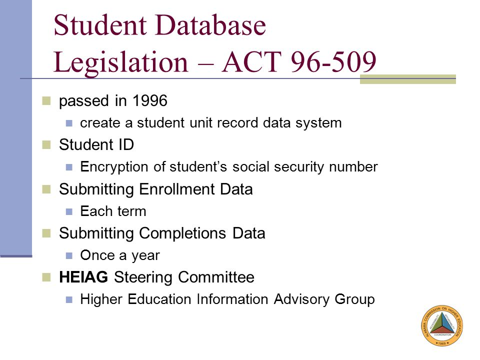 Alabama Statewide Student Database History All Alabama Public 2-year and 4-year institutions of higher education participating.