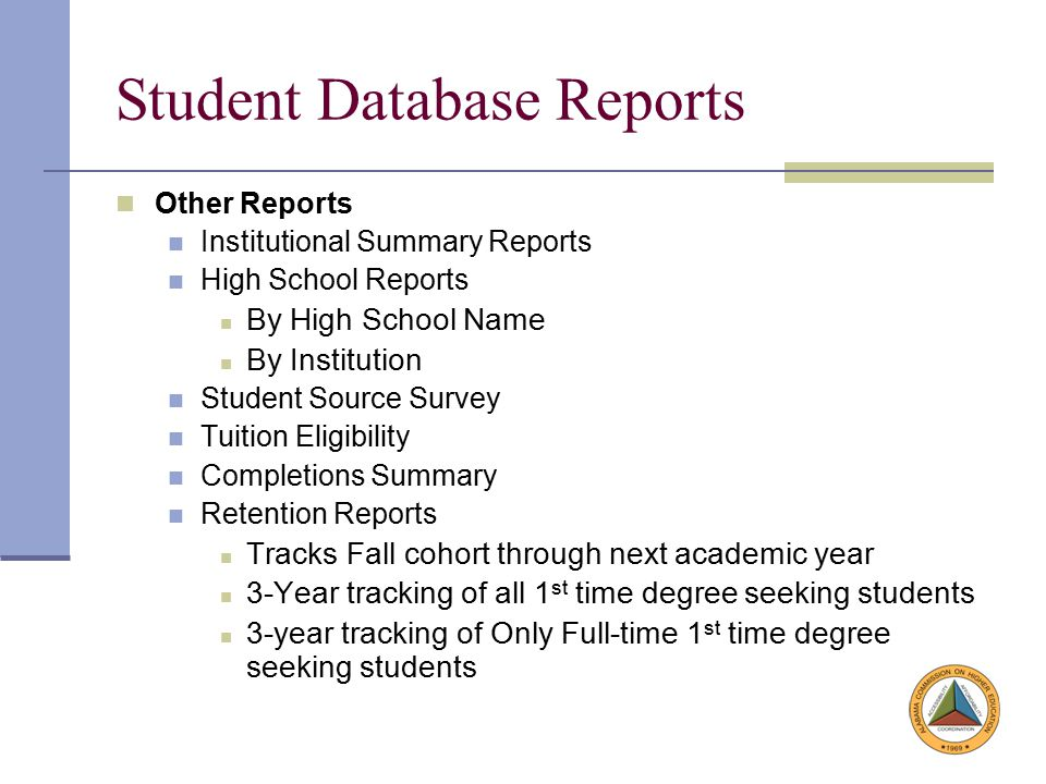 Student Database Reports Other Reports Institutional Summary Reports High School Reports By High School Name By Institution Student Source Survey Tuition Eligibility Completions Summary Retention Reports Tracks Fall cohort through next academic year 3-Year tracking of all 1 st time degree seeking students 3-year tracking of Only Full-time 1 st time degree seeking students