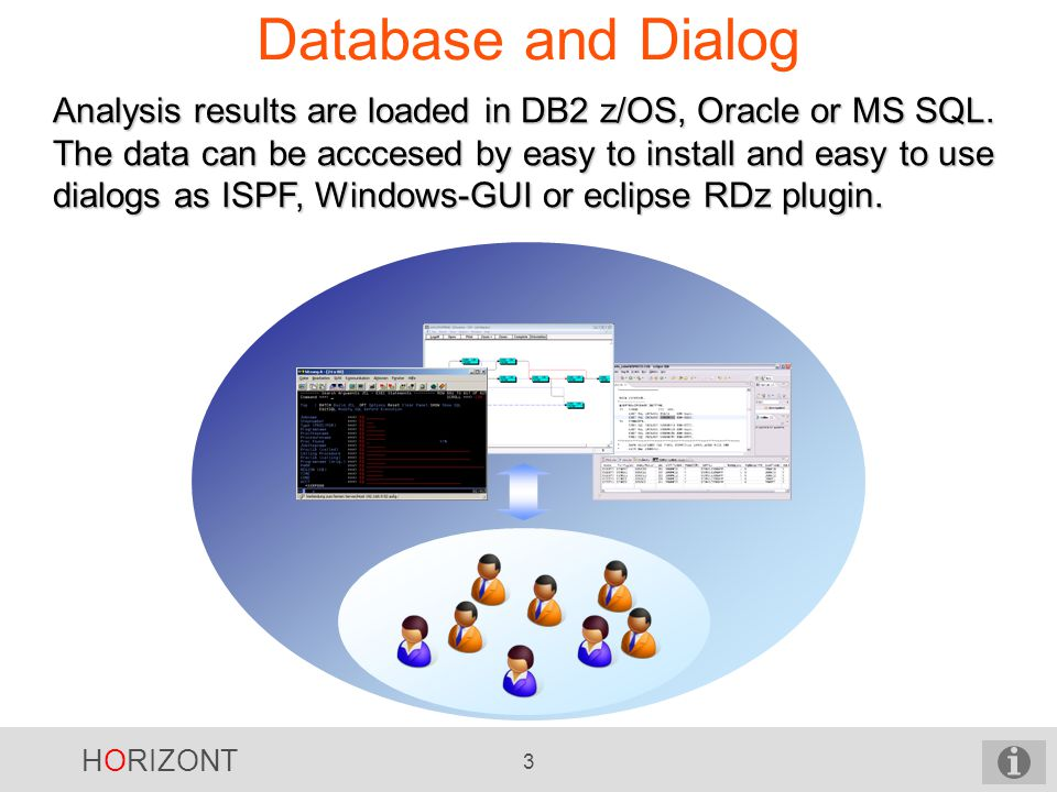 HORIZONT 3 Database and Dialog Analysis results are loaded in DB2 z/OS, Oracle or MS SQL.