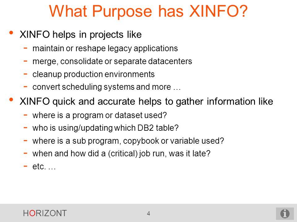 HORIZONT 4 What Purpose has XINFO.