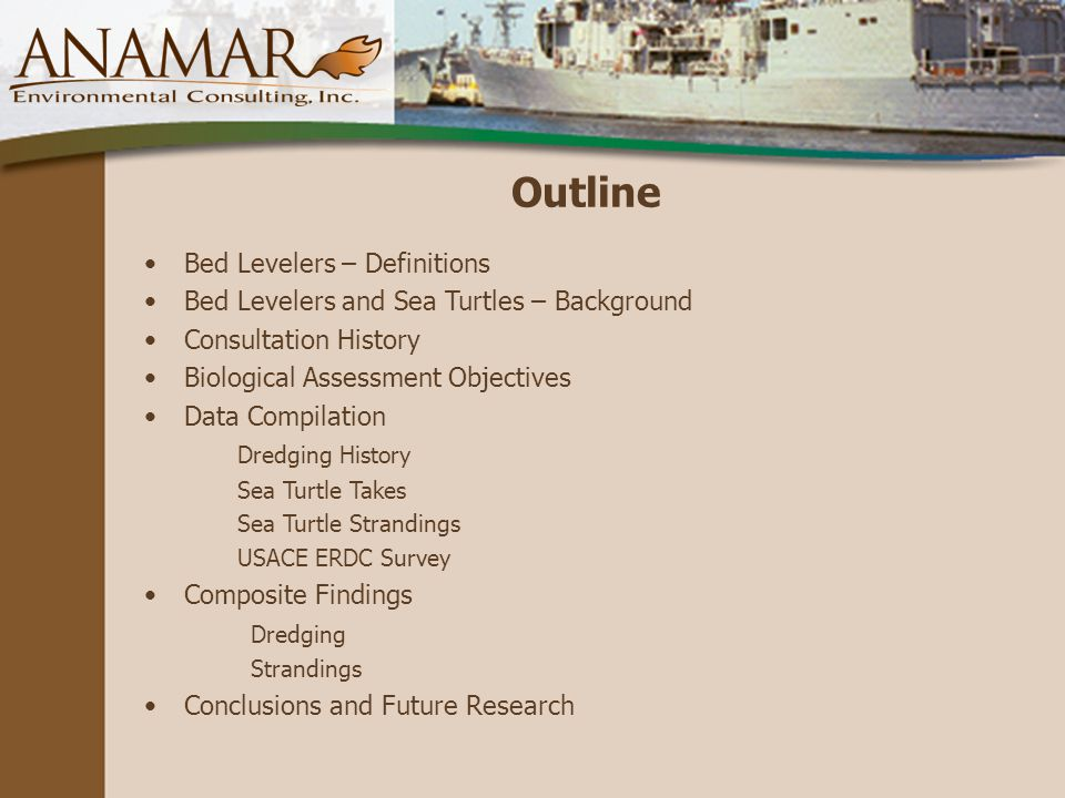 Outline Bed Levelers – Definitions Bed Levelers and Sea Turtles – Background Consultation History Biological Assessment Objectives Data Compilation Dredging History Sea Turtle Takes Sea Turtle Strandings USACE ERDC Survey Composite Findings Dredging Strandings Conclusions and Future Research