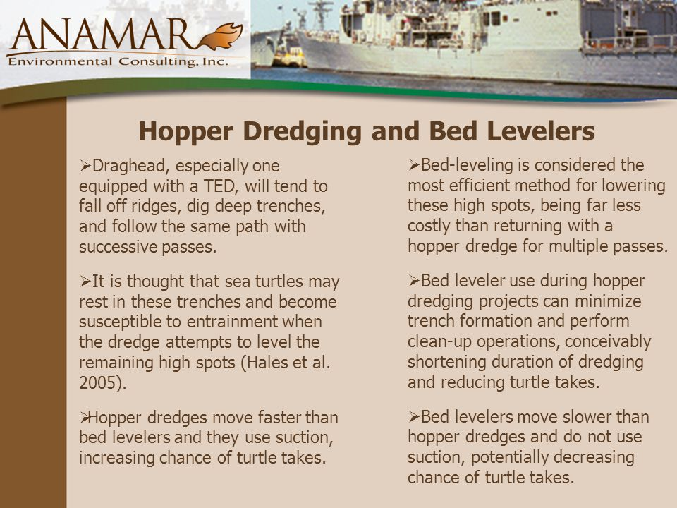 Hopper Dredging and Bed Levelers  Draghead, especially one equipped with a TED, will tend to fall off ridges, dig deep trenches, and follow the same path with successive passes.
