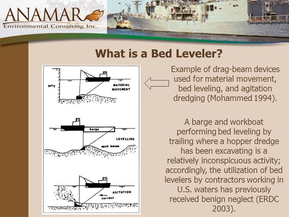 Example of drag-beam devices used for material movement, bed leveling, and agitation dredging (Mohammed 1994).