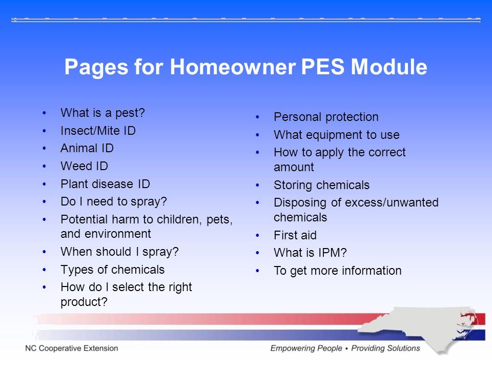 Pages for Homeowner PES Module What is a pest.