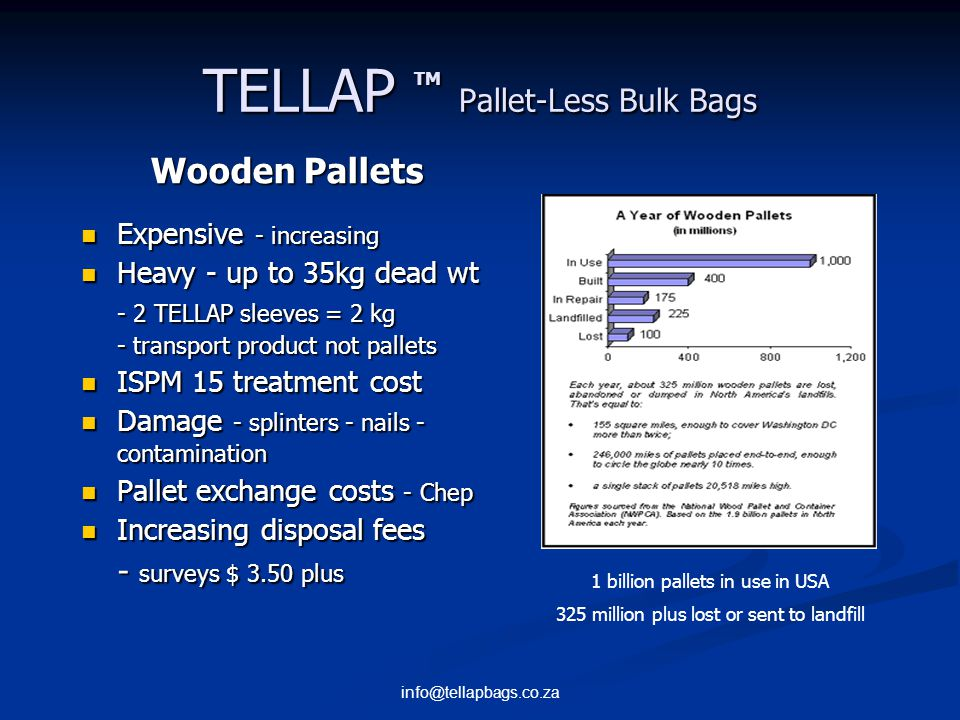 info@tellapbags.co.za TELLAP TM Pallet-Less Bulk Bags Cost Savings Optimise transport costs - increase payload – maximise product - minimise packaging - reduce freight cost pmt ISPM15 compliant One less stock item Reduced storage area No pallet collection - exchange costs - disposal Reduced accidents - clean up time - less labour Pallet damage during transport – contamination?