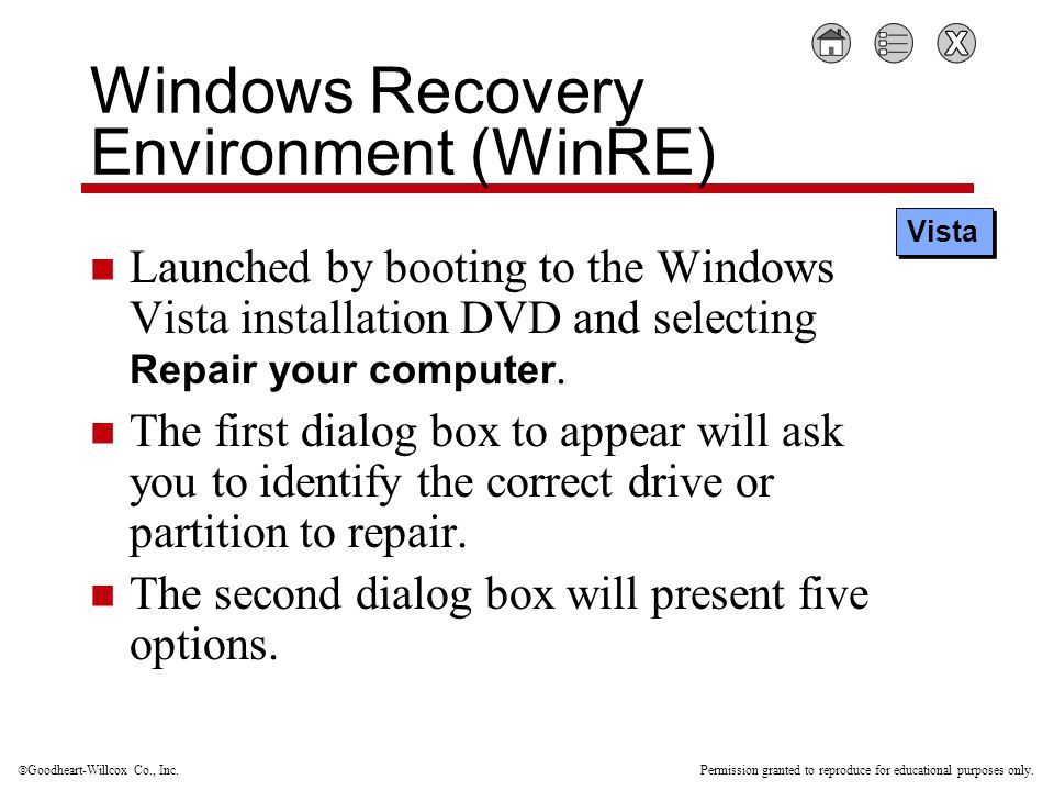  Goodheart-Willcox Co., Inc. Permission granted to reproduce for educational purposes only. Windows Recovery Environment (WinRE) Launched by booting