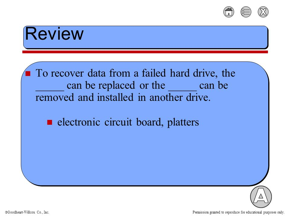  Goodheart-Willcox Co., Inc. Permission granted to reproduce for educational purposes only. Review To recover data from a failed hard drive, the ____