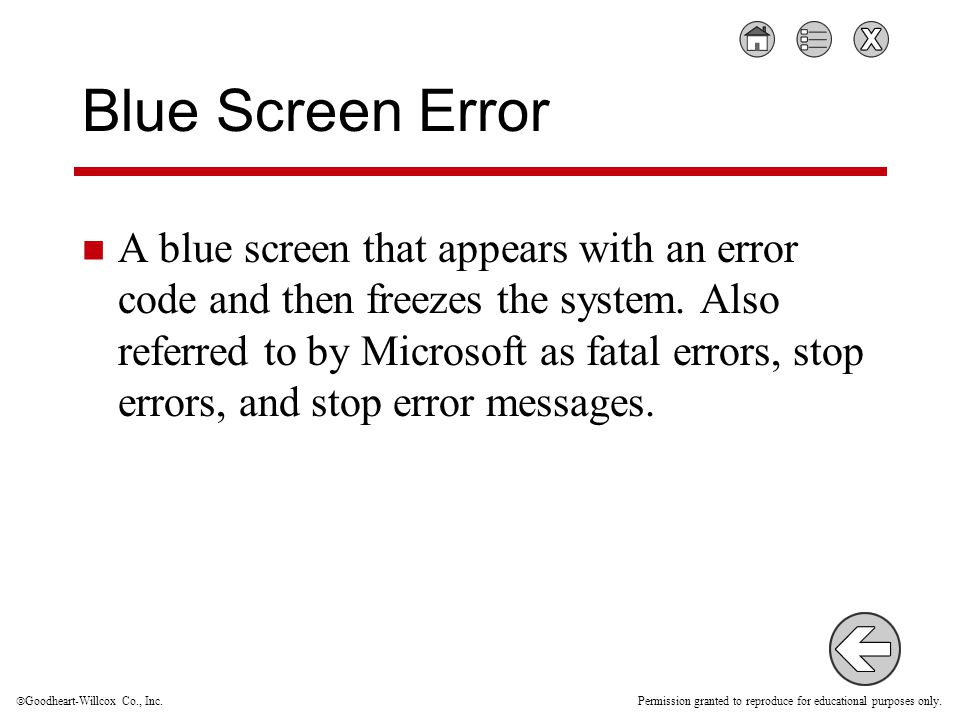  Goodheart-Willcox Co., Inc. Permission granted to reproduce for educational purposes only. Blue Screen Error A blue screen that appears with an erro