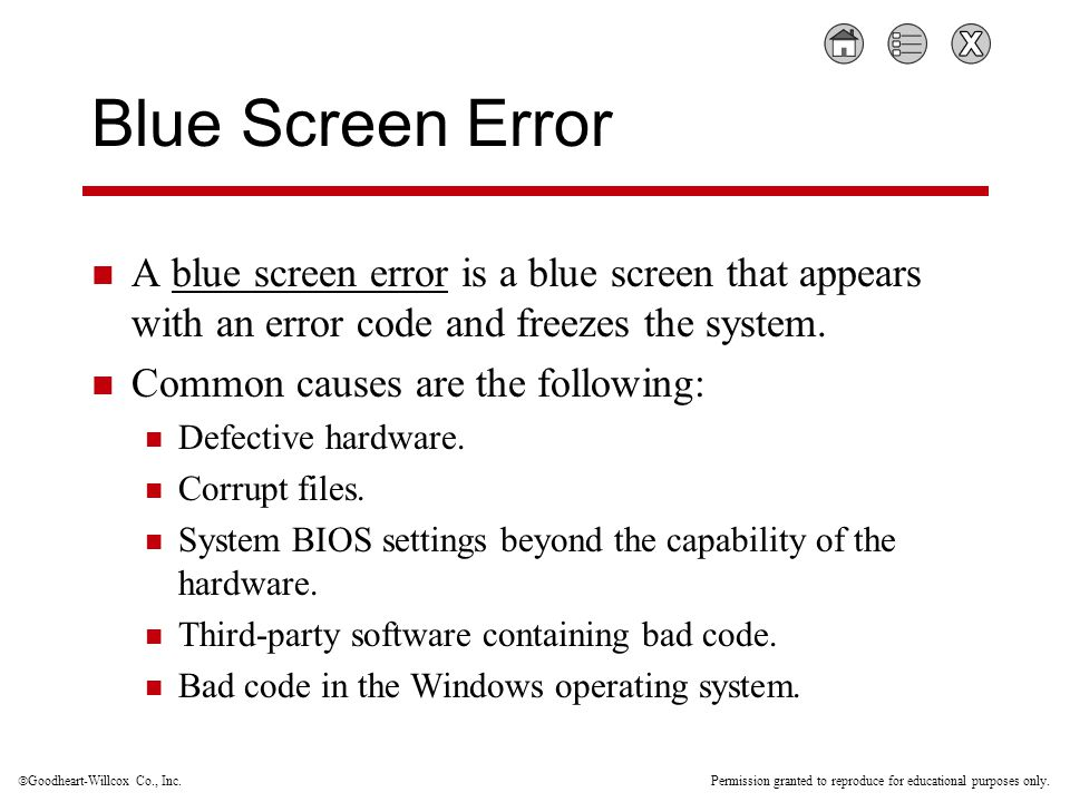  Goodheart-Willcox Co., Inc. Permission granted to reproduce for educational purposes only. Blue Screen Error A blue screen error is a blue screen th