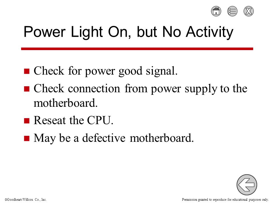  Goodheart-Willcox Co., Inc. Permission granted to reproduce for educational purposes only. Power Light On, but No Activity Check for power good sign