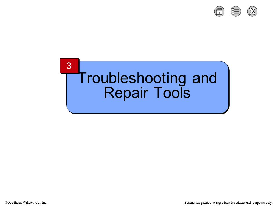  Goodheart-Willcox Co., Inc. Permission granted to reproduce for educational purposes only. Troubleshooting and Repair Tools 3 3