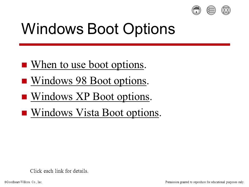  Goodheart-Willcox Co., Inc. Permission granted to reproduce for educational purposes only. Windows Boot Options When to use boot options. When to us