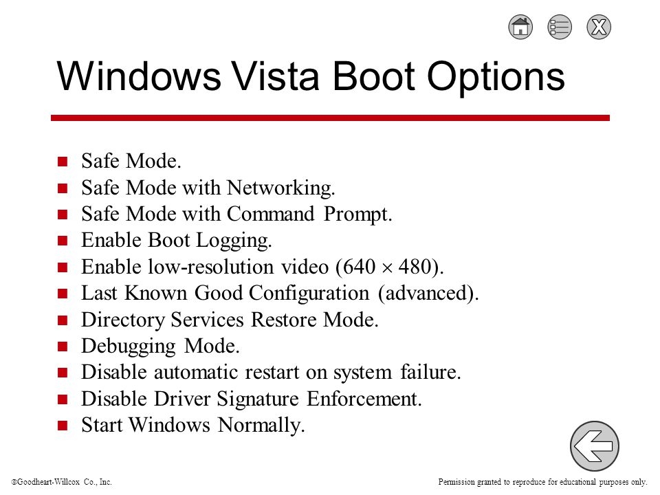  Goodheart-Willcox Co., Inc. Permission granted to reproduce for educational purposes only. Windows Vista Boot Options Safe Mode. Safe Mode with Netw