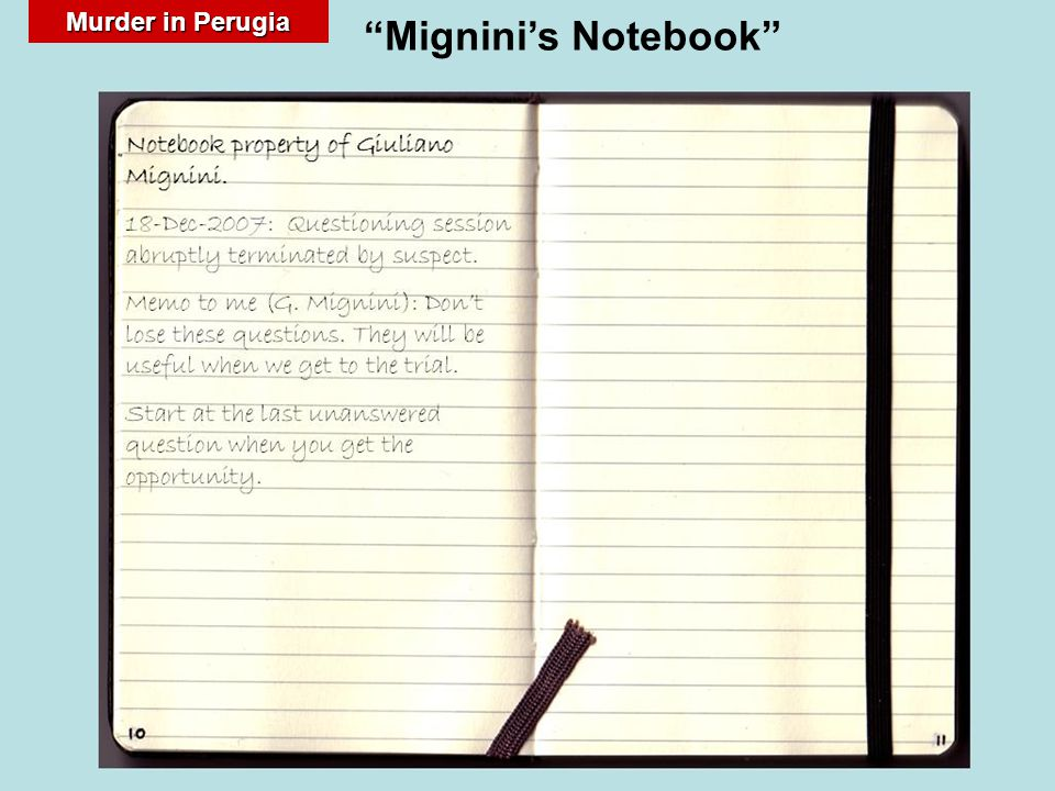 "Murder in Perugia ""Mignini's Notebook"""