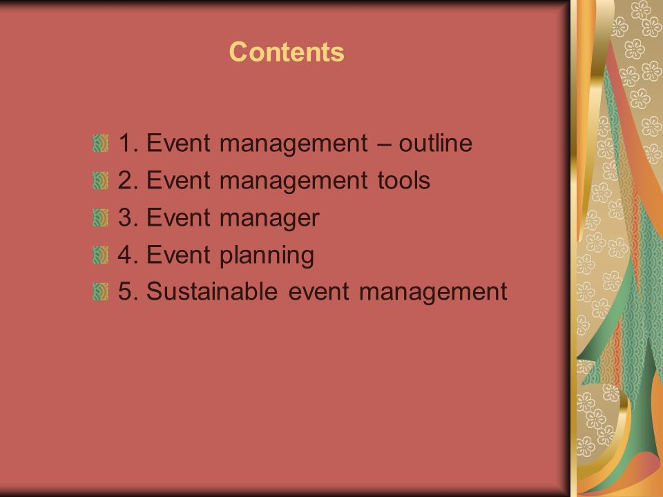 Sustainable Event Management Sustainable event management (also known as event greening) is the process used to produce an event with particular concern for environmental, economic and social issues.