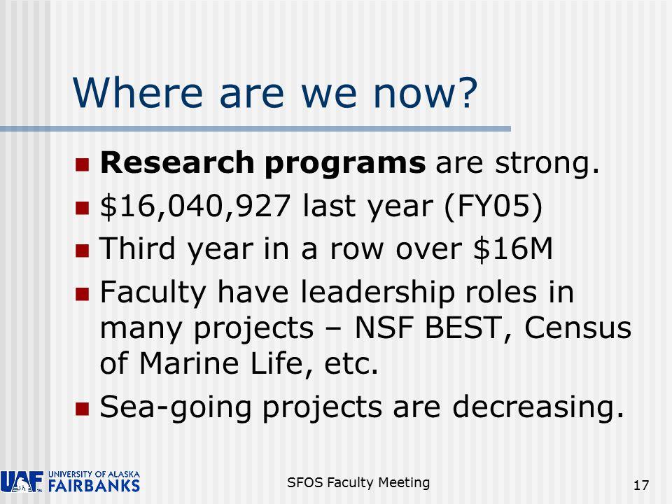 SFOS Faculty Meeting 17 Research programs are strong.