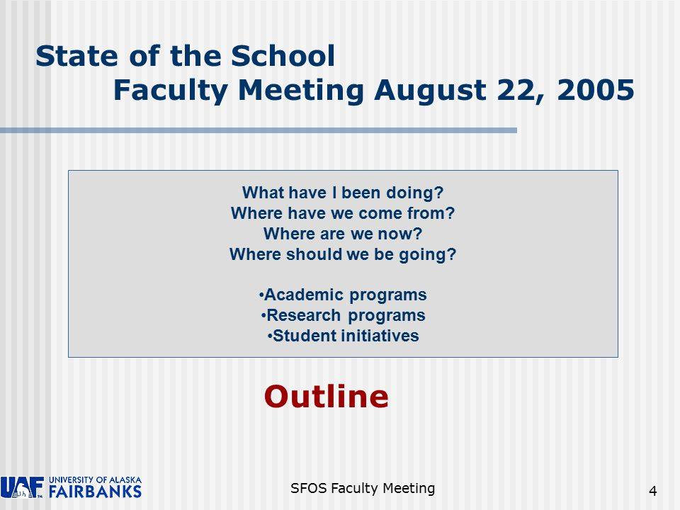 SFOS Faculty Meeting 15 SFOS Debt - July 2005 When budgeted $88.2K paid in September 2005, debt will be reduced to $239,000 FY05 Surplus $154,427