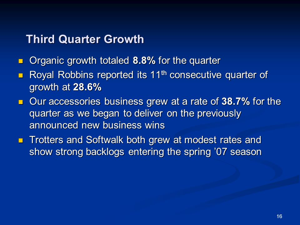 16 Third Quarter Growth Organic growth totaled 8.8% for the quarter Organic growth totaled 8.8% for the quarter Royal Robbins reported its 11 th conse